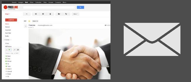 Рукопожатие и иконка почтового ящика