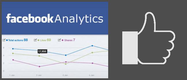 """Скриншот приложения Facebook Analytics и иконка """"Нравится"""""""
