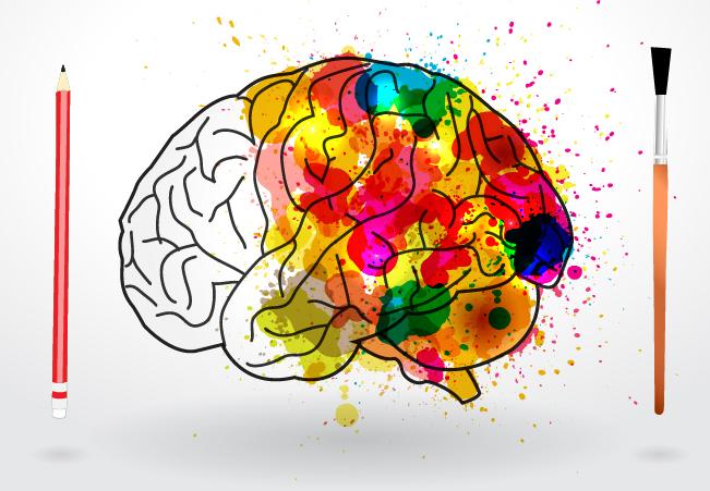 """Картинка-раскраска"" на которой изображен разноцветный контур мозга, кисточка и карандаш"