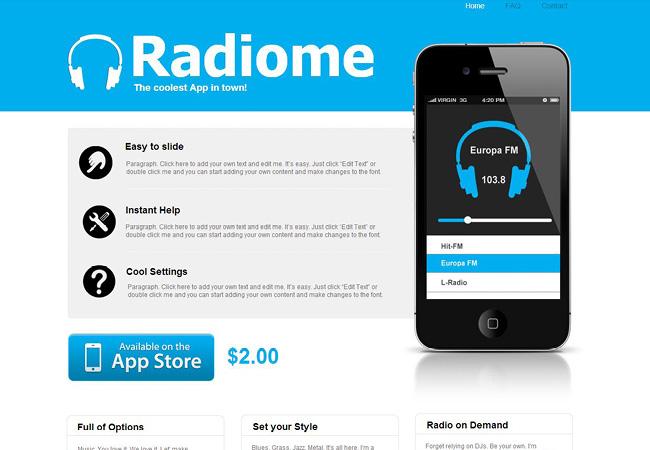 Шаблон сайта приложений для мобильных устройств