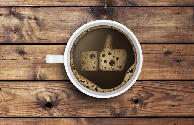Чашка кофе со знаком Like