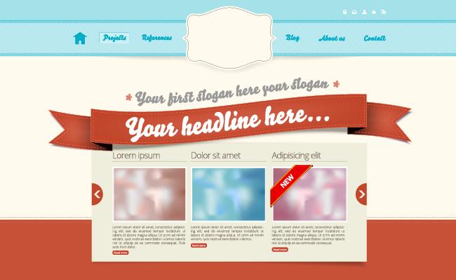Заголовок сайта в виде ленты