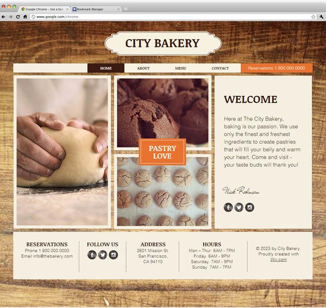 Шаблон сайта пекарни или кондитерской