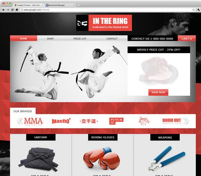 Шаблон интернет-магазина товаров для боевых искусств