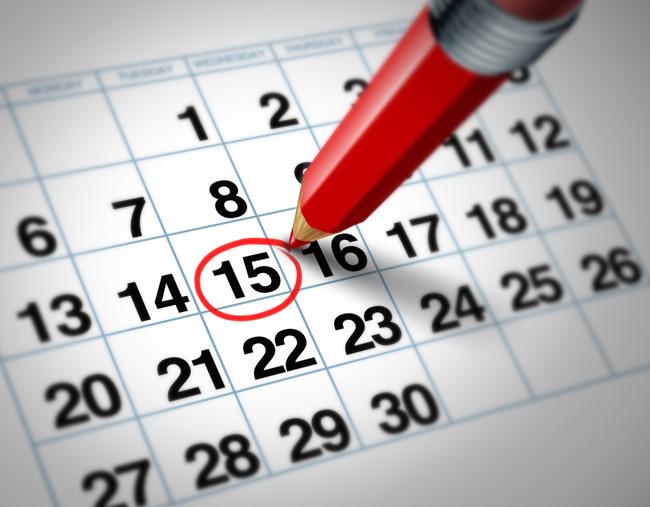 календарь с обведенной карандашом датой