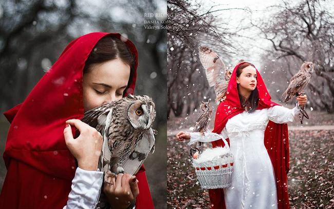 Зимняя фотография в образе «красной шапочки»