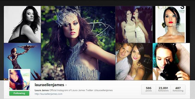 Страничка Лауры Джеймс на Instagram