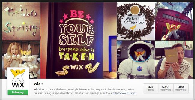 Cтраница Wix в Instagram