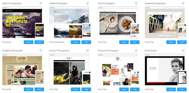 Шаблоны Wix для сайта по фотографии