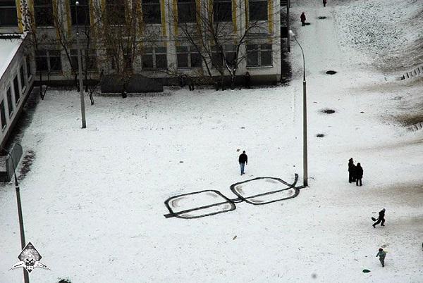 стрит-арт зима очки