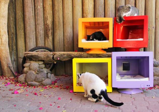 домики для кошек из старых мониторов